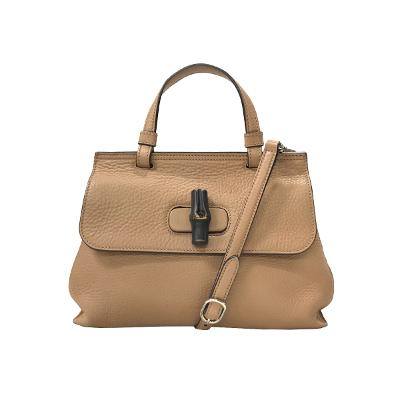 bamboo daily leather bag brown